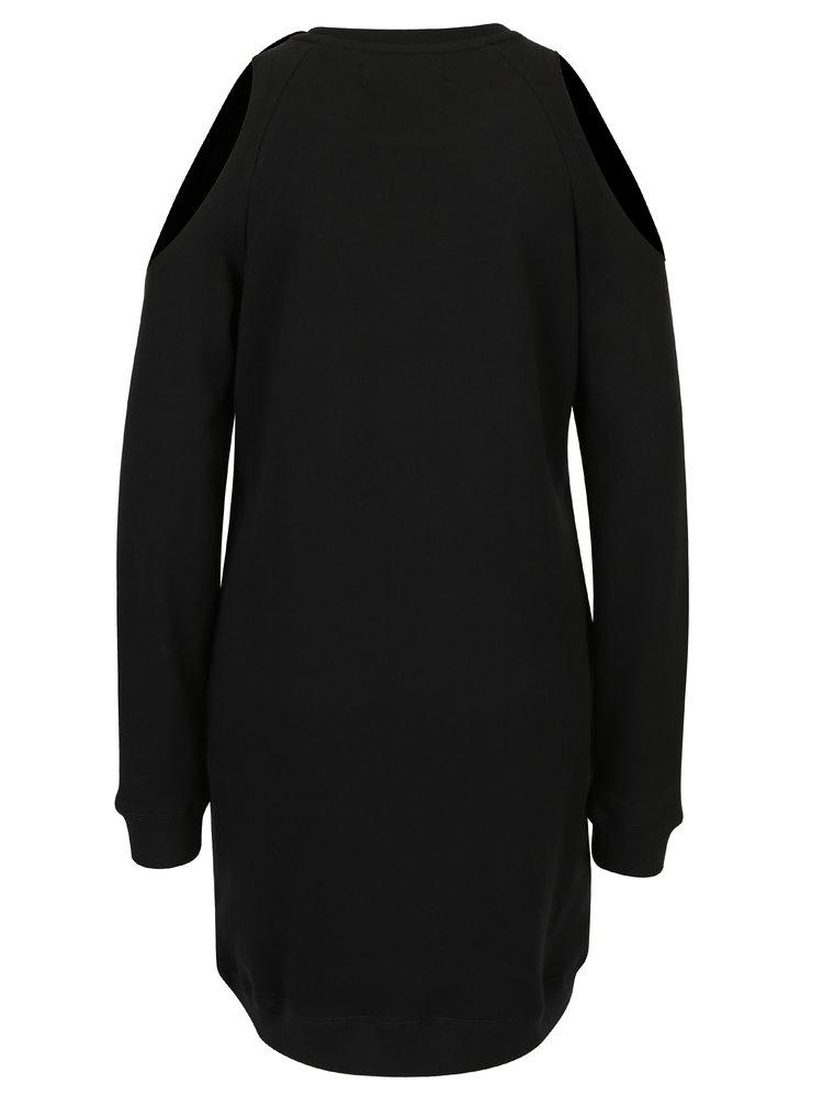 Černé mikinové šaty s průstřihy na rukávech Superdry Sport