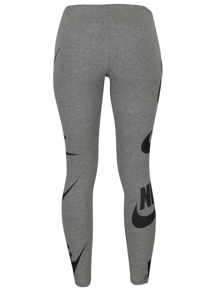 Šedé dámské žíhané legíny s potiskem Nike Sportswear Futura