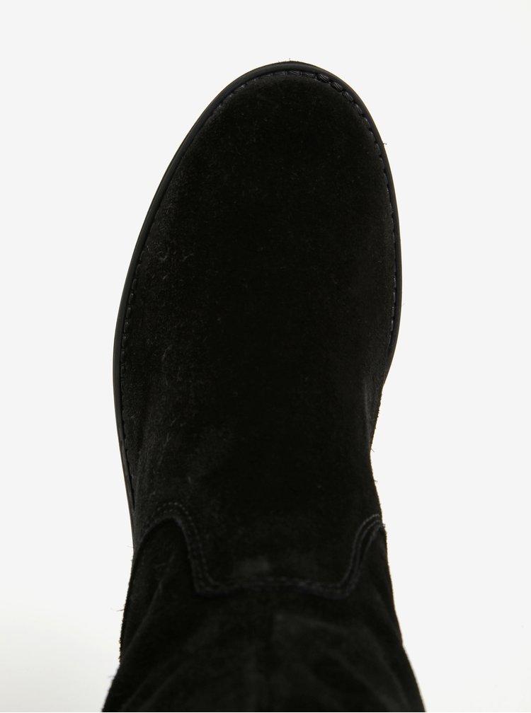 Černé vysoké semišové kozačky Tamaris
