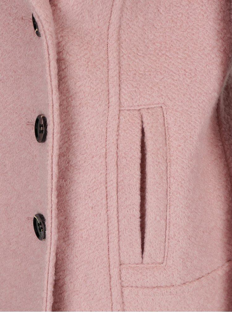 Palton roz pal din amestec de lana M&Co