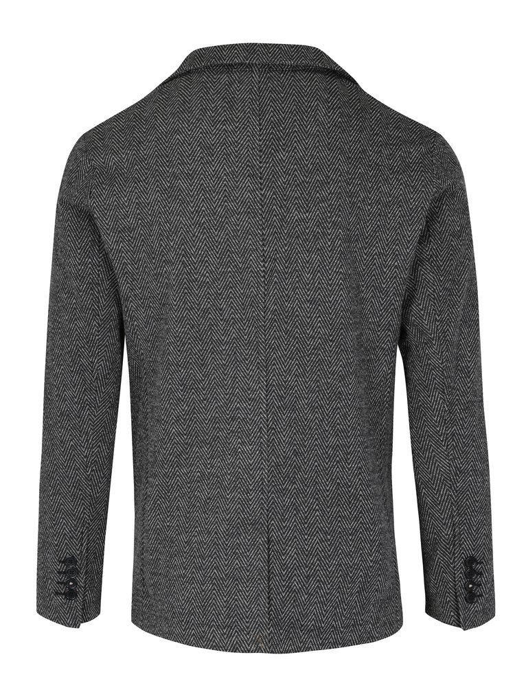 Tmavě šedé vzorované sako Jack & Jones Premium Siena