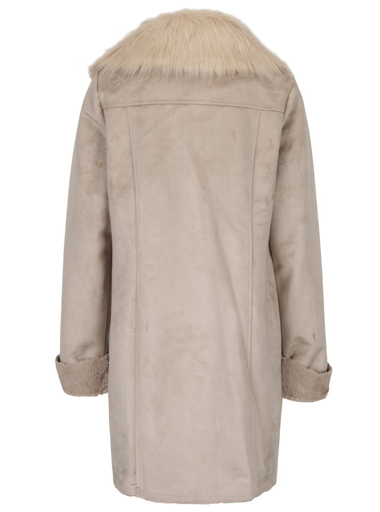 Palton bej de iarna cu guler din blana artificiala  M&Co