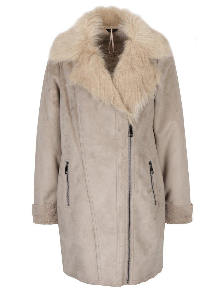 Šedý kabát s umělou kožešinou M&Co