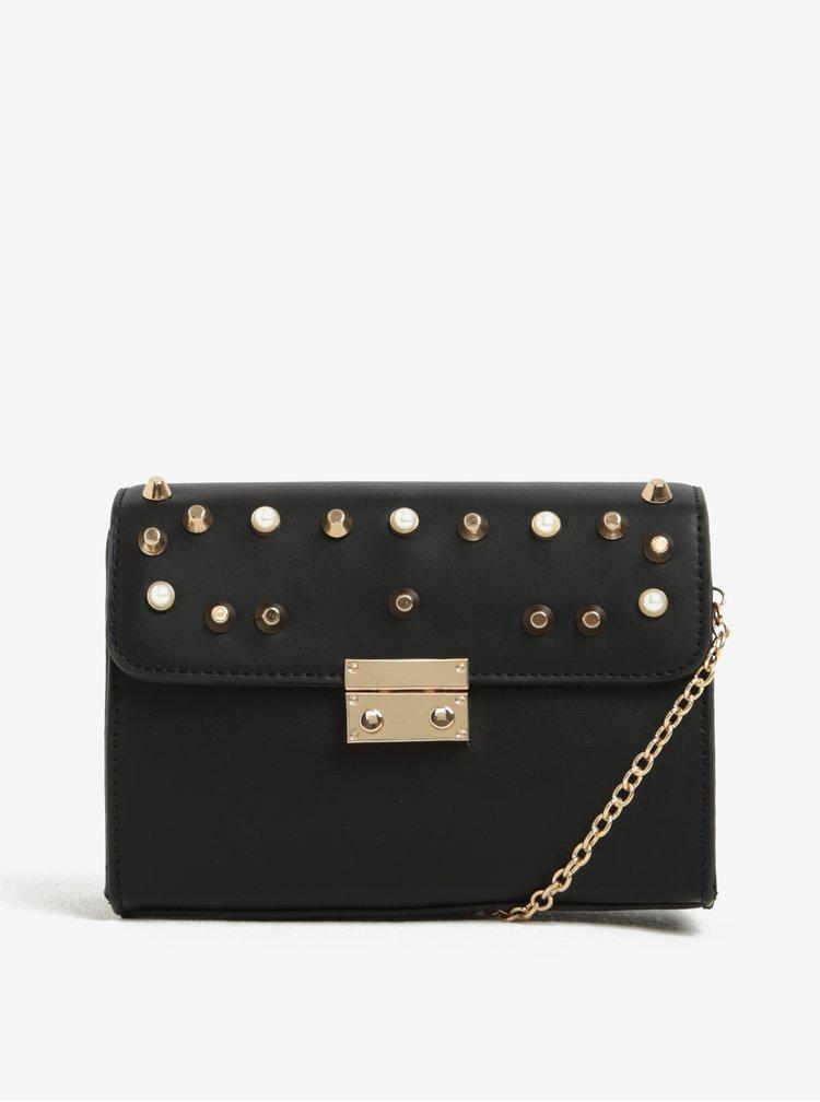 Černá crossbody kabelka s detaily ve zlaté barvě ONLY Linea