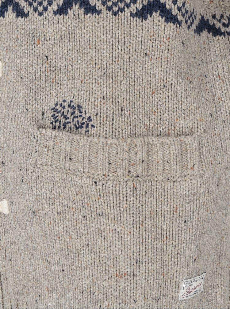 Béžový vzorovaný svetr Jack & Jones Vintage Rolan