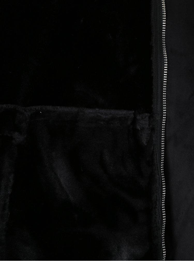 Geaca neagra de aviator cu guler si interior imblanit -  Jack & Jones Originals Air