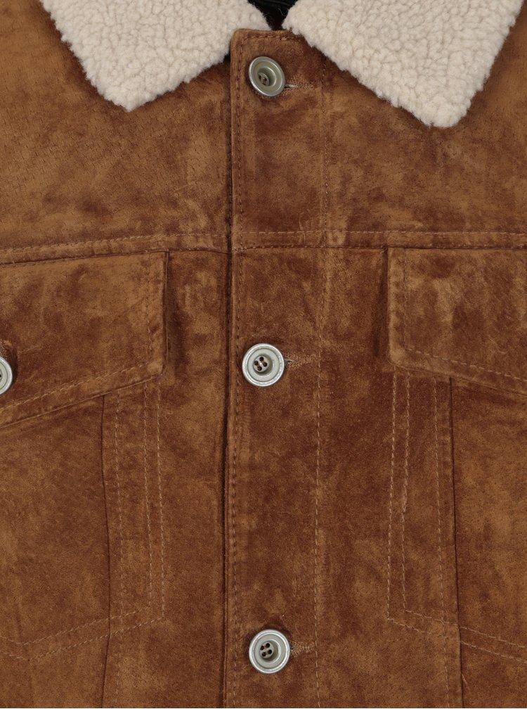 Geaca maro aviator din piele intoarsa cu blana artificiala - Jack & Jones Vintage Pride