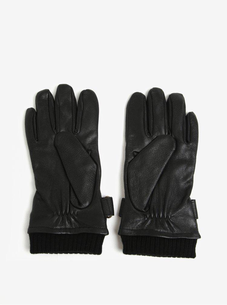 Černé kožené rukavice Jack & Jones Vintage Victor