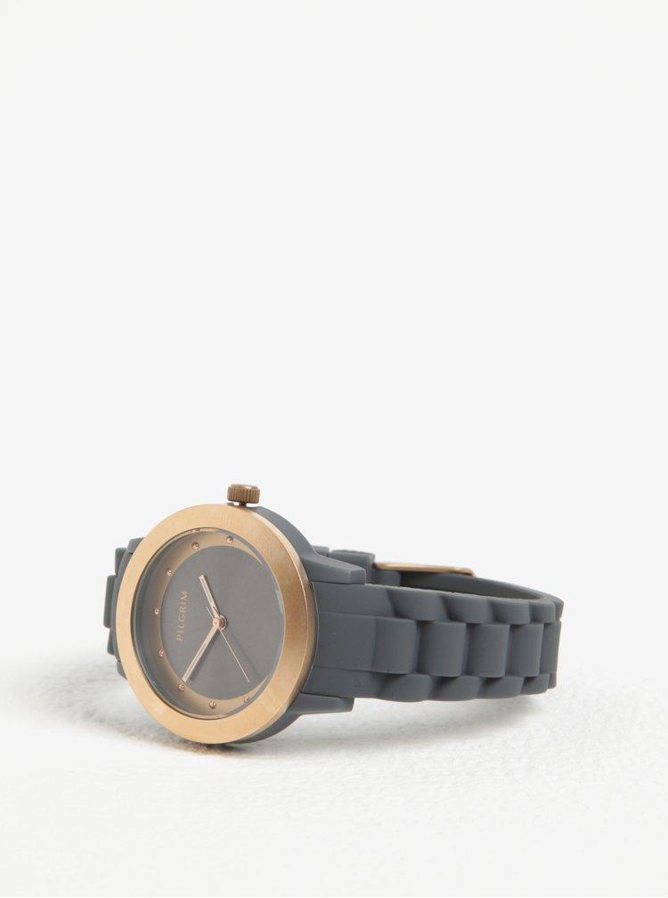 Dámské hodinky v růžovozlaté barvě s šedým silikonovým páskem Pilgrim