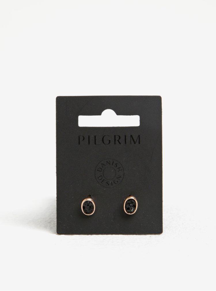 Pozlacené náušnice v růžovozlaté barvě s černými kamínky Pilgrim