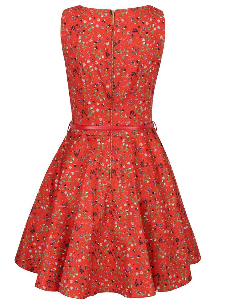 Červené květované šaty s páskem a kolovou sukní Closet