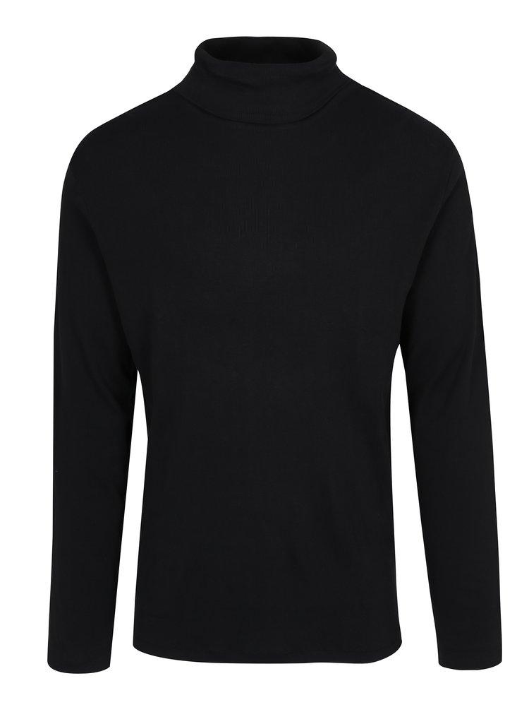 Černé žebrované tričko s rolákem Lindbergh