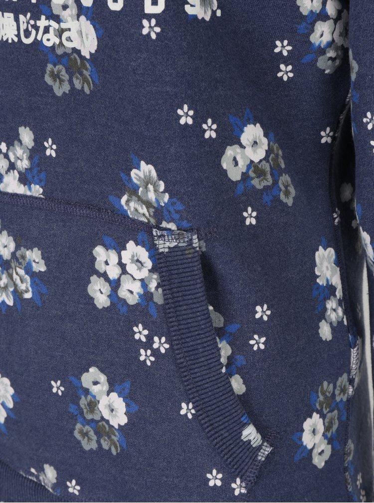 Hanorac crem&albastru cu print pentru femei - Superdry Premium