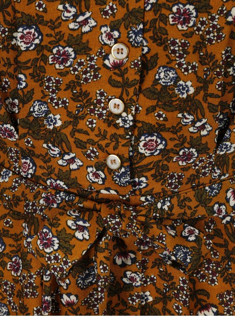 Hořčicové květované šaty s mašlí Louche London