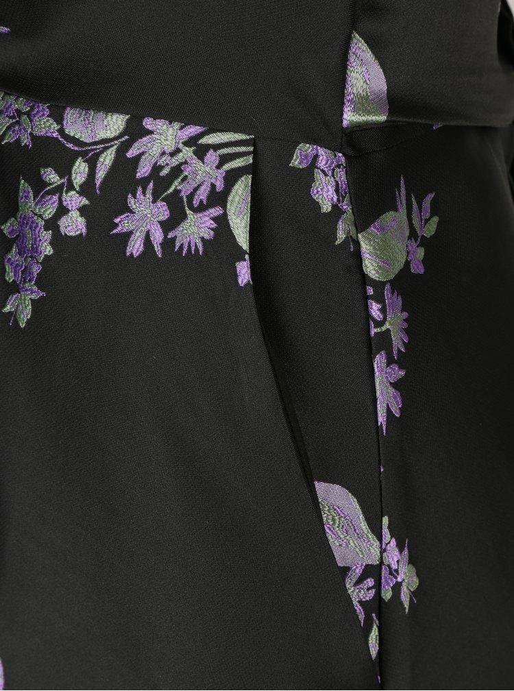 Rochie neagra cu print floral si decolteu suprapus Closet