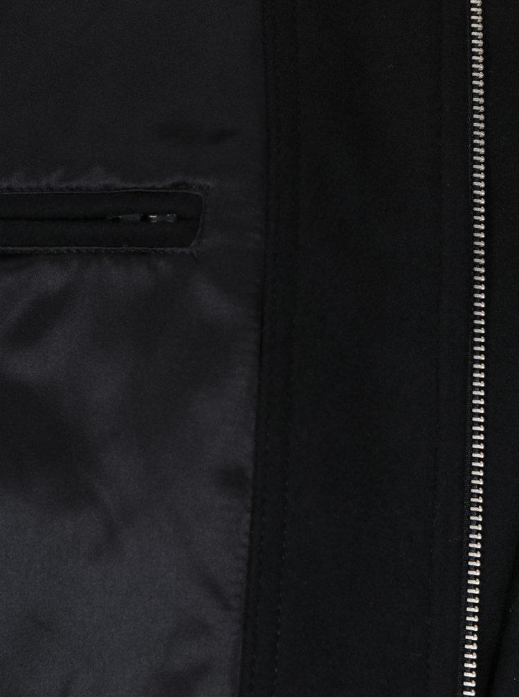Černá zimní vlněná bunda s límcem Lindbergh