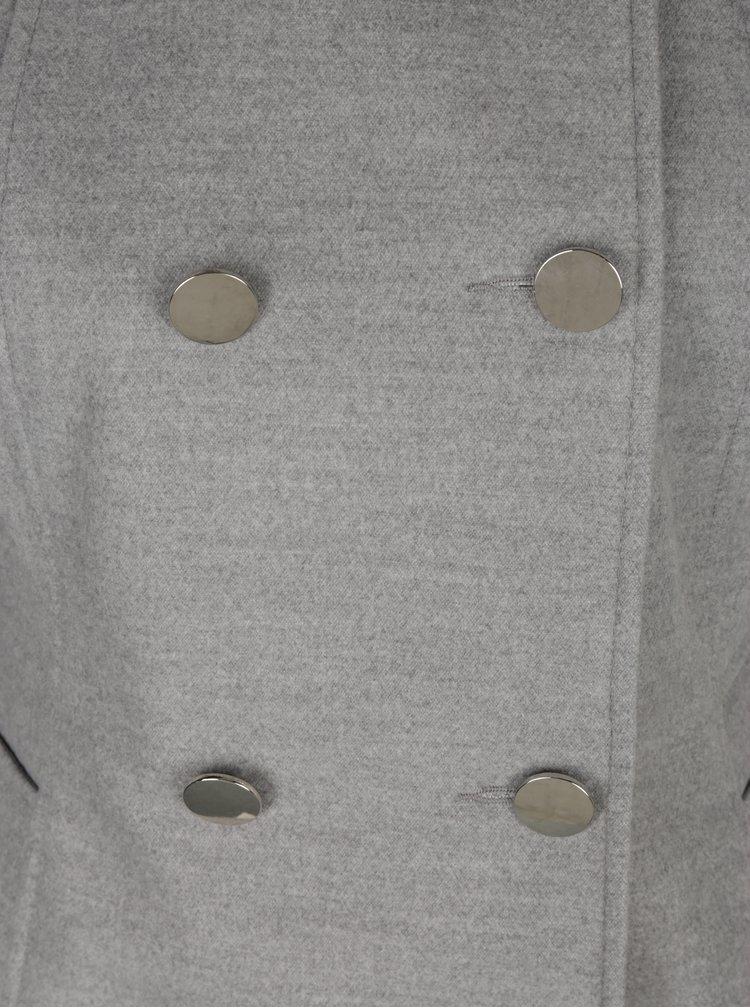 Šedý žíhaný kabát Miss Selfridge Petites