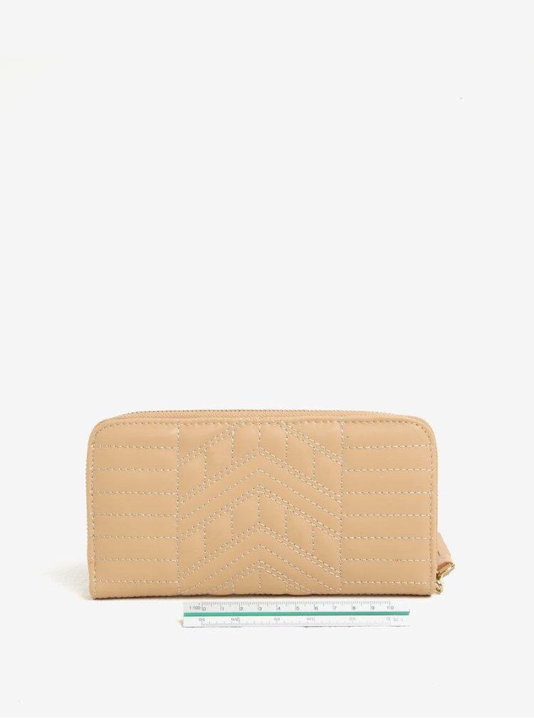 Béžová prošívaná peněženka LYDC
