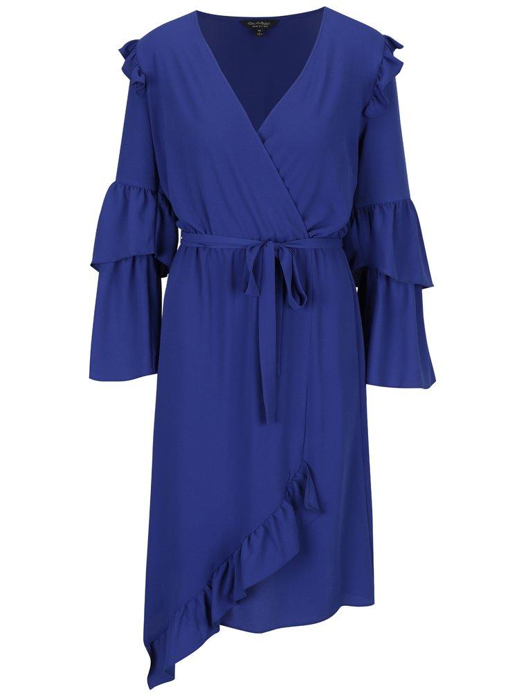 Modré asymetrické šaty s překládaným výstřihem a volánky Miss Selfridge