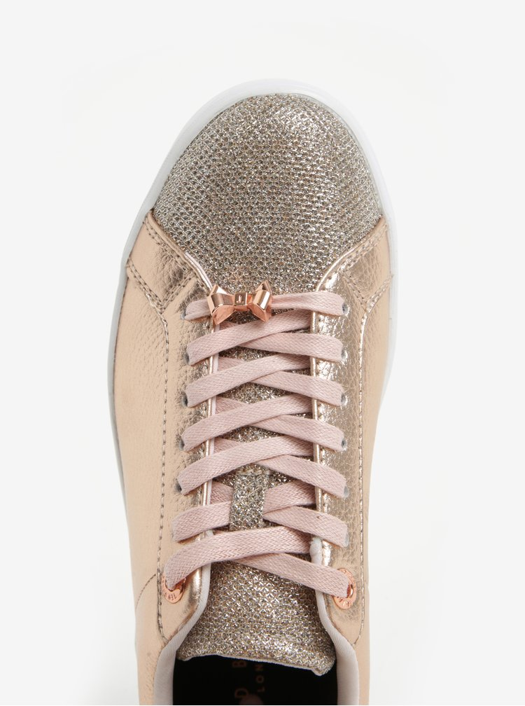 Světle růžové dámské třpytivé tenisky Ted Baker Kulei