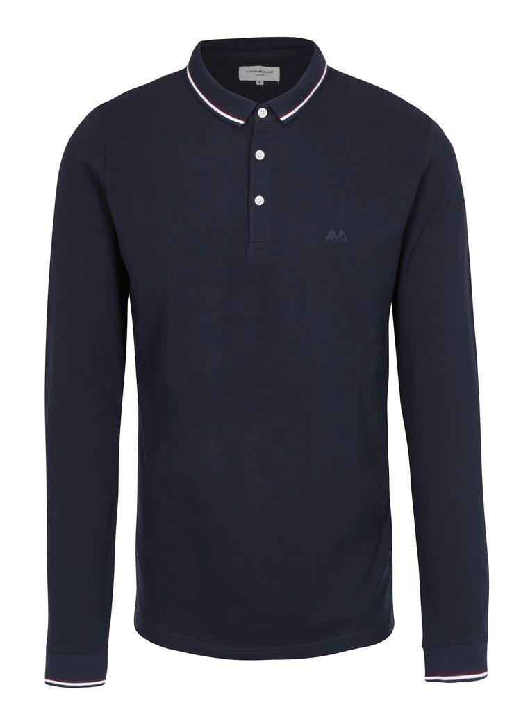 Bluza polo bleumarin cu dungi pe guler Lindbergh