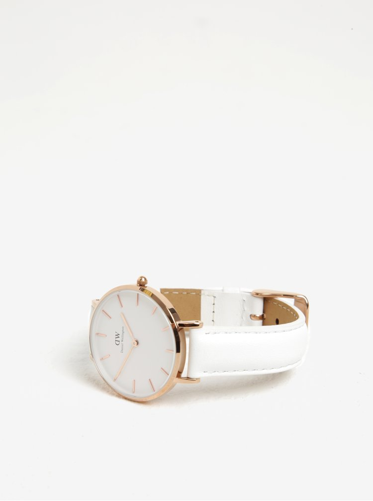 Dámské hodinky v růžovozlaté barvě s koženým páskem Daniel Wellington