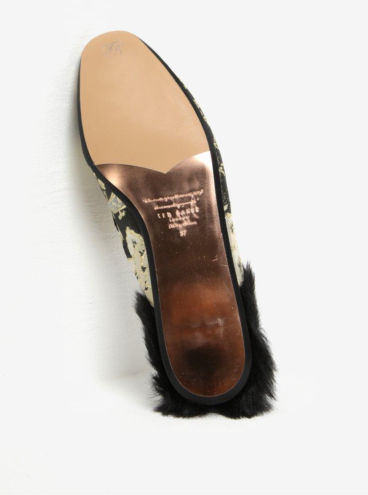 Černo-zlaté dámské pantofle s umělou kožešinou Ted Baker Kerriy