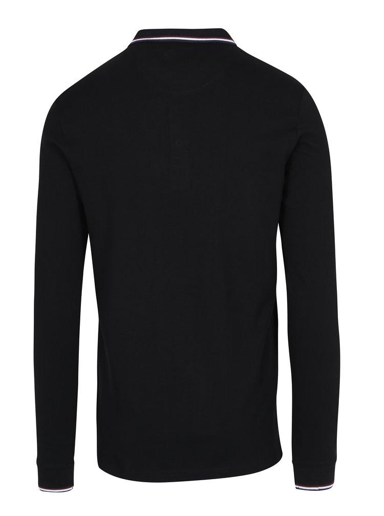 Černé polo tričko s dlouhým rukávem Lindbergh
