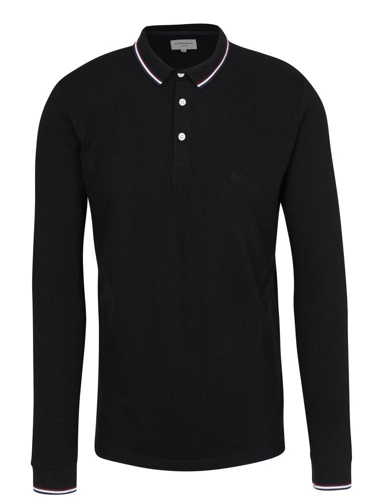 Bluza polo neagra cu dungi pe guler Lindbergh