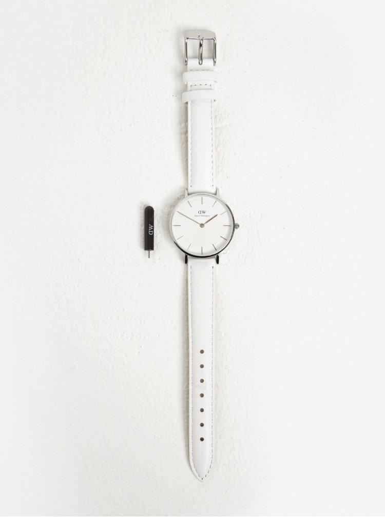 Ceas analog cu cadran alb si curea din piele naturala pentru femei- Daniel Wellington
