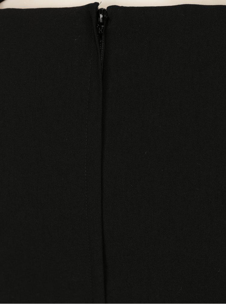 Černé pouzdrové šaty s nařasenými rukávy Miss Selfridge