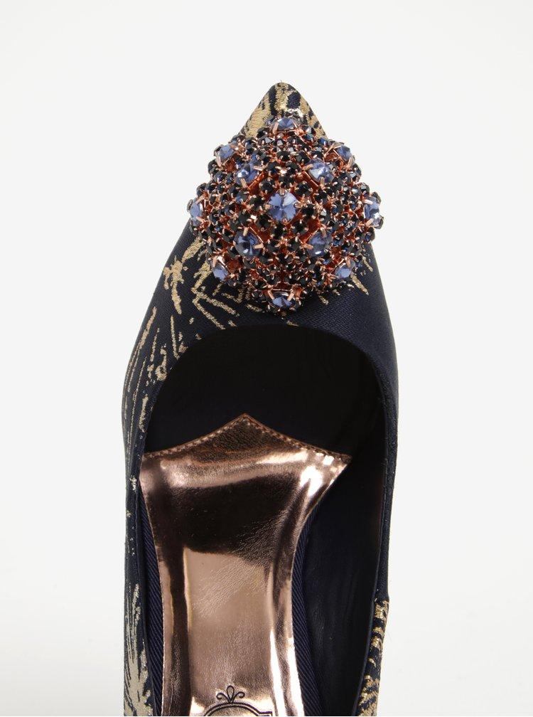 Pantofi bleumarin & auriu cu toc si aplicatii - Ted Baker Peetch