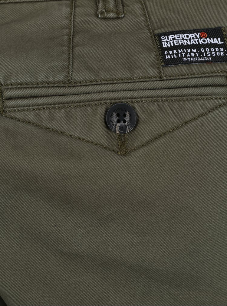 Pantaloni chino kaki slim fit pentru barbati -  Superdry Rookie