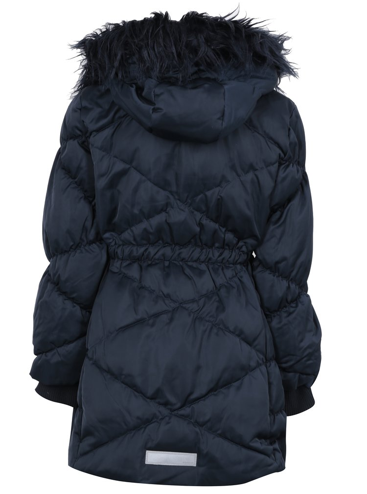 Tmavomodrý prešívaný páperový zimný kabát s umelým kožúškom Name it Melia