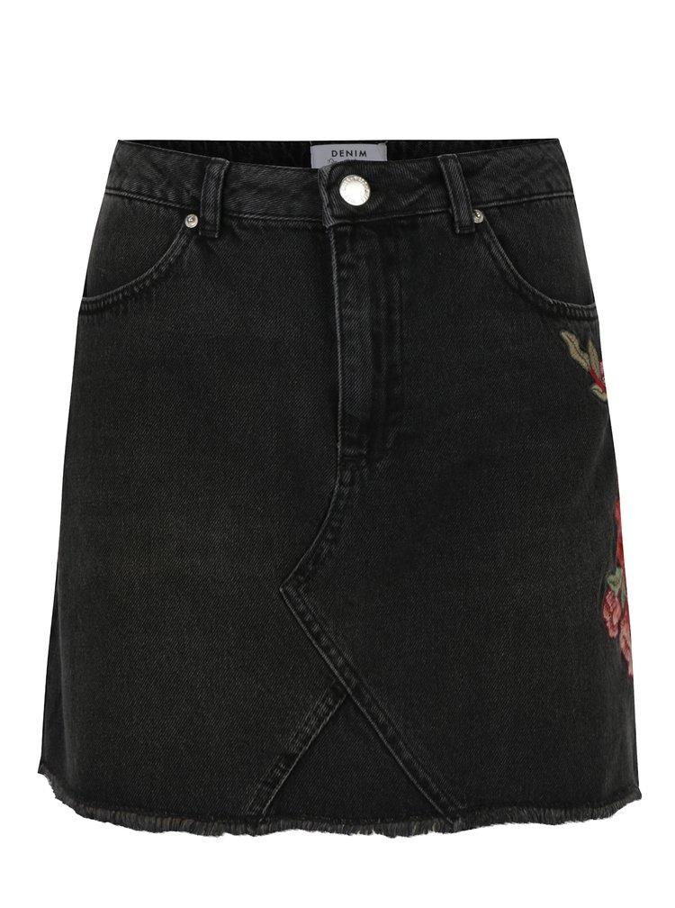 Tmavě šedá džínová sukně s výšivkou Miss Selfridge