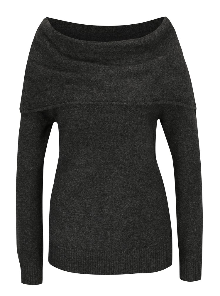 Šedý dámský svetr s lodičkovým výstřihem Garcia Jeans