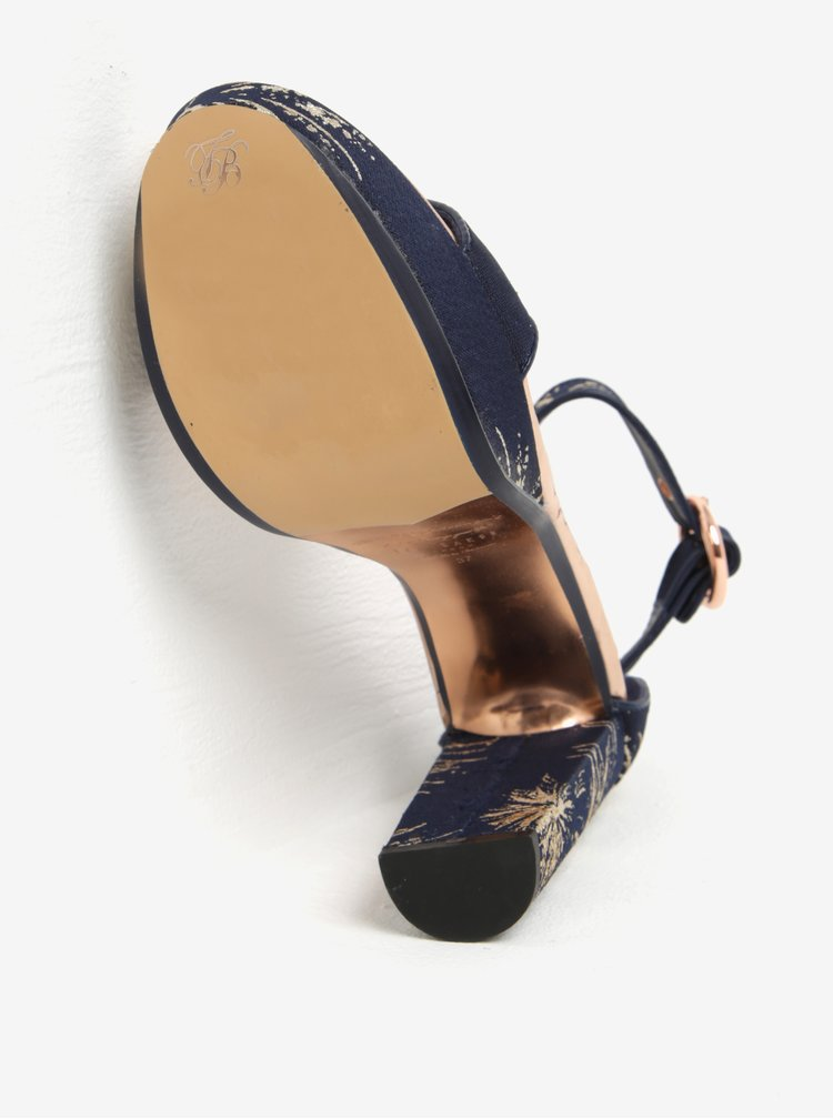 Sandale bleumarin & auriu cu platforma si toc - Ted Baker Jewll