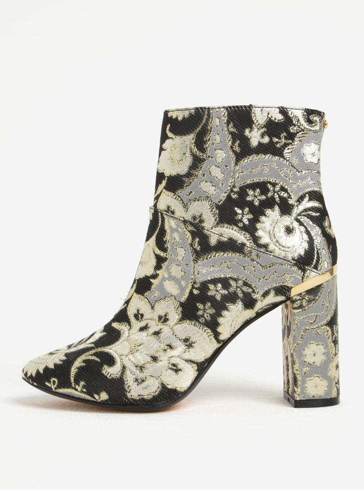 Zlato-černé vzorované kotníkové boty Ted Baker Ishbel