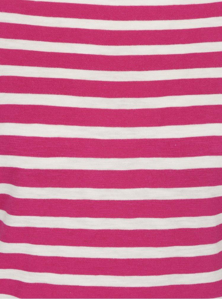 Bílo-růžové dámské pruhované tričko Garcia Jeans