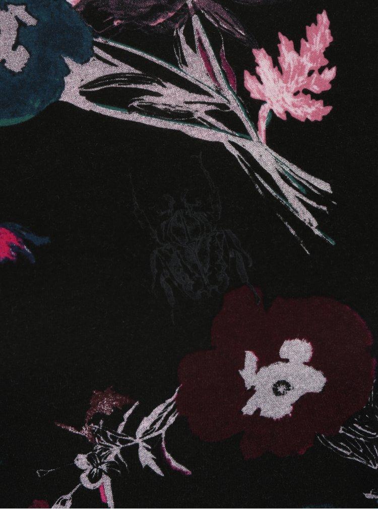 Bluza neagra cu print floral pentru femei Garcia Jeans
