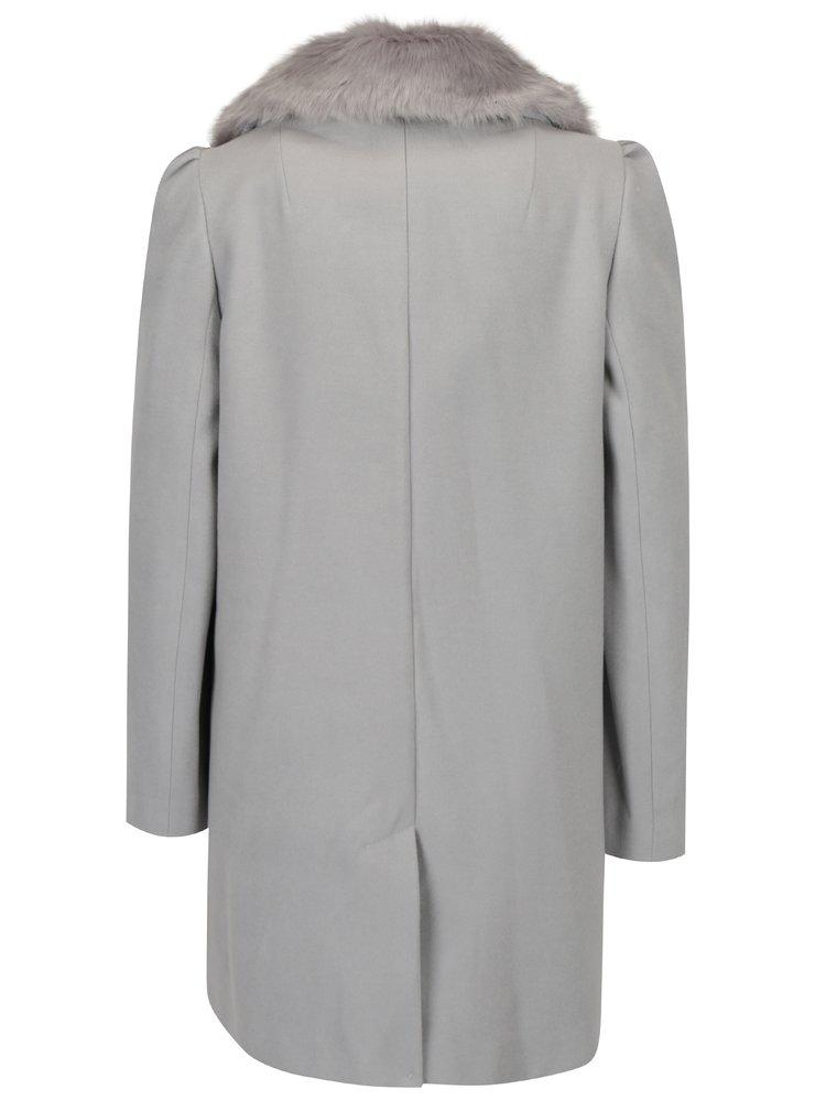 Světle šedý kabát s umělou kožešinou Miss Selfridge