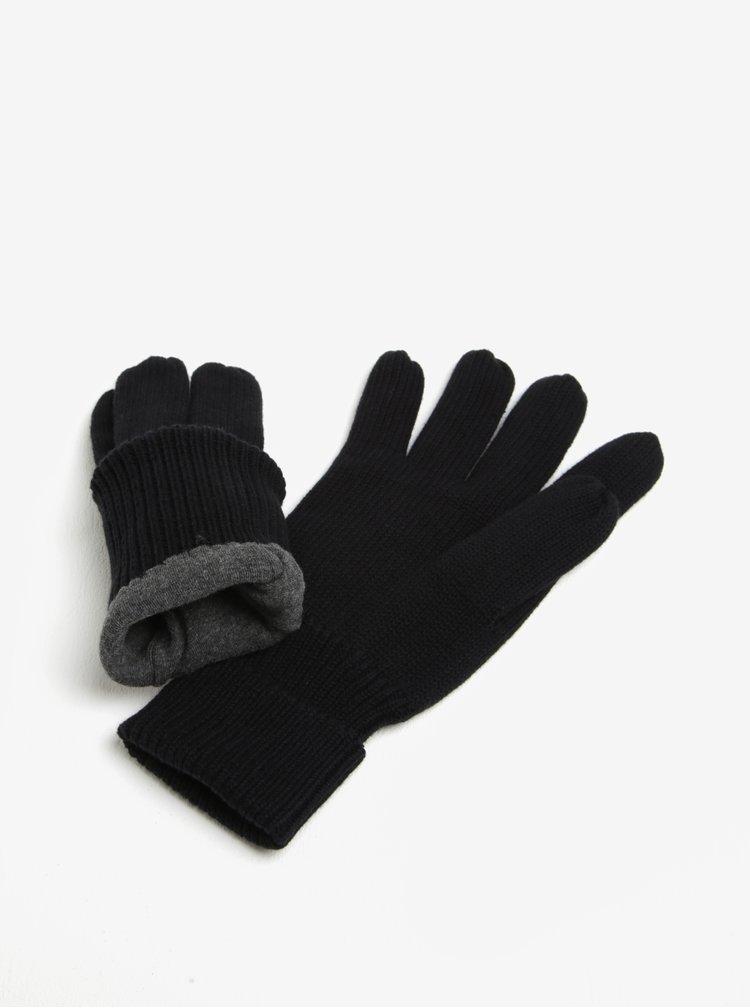 Čierne pánske rukavice Superdry