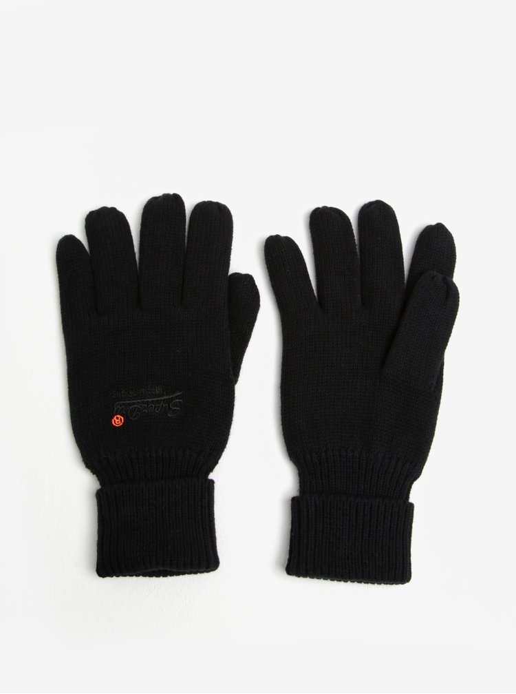 Černé pánské rukavice Superdry