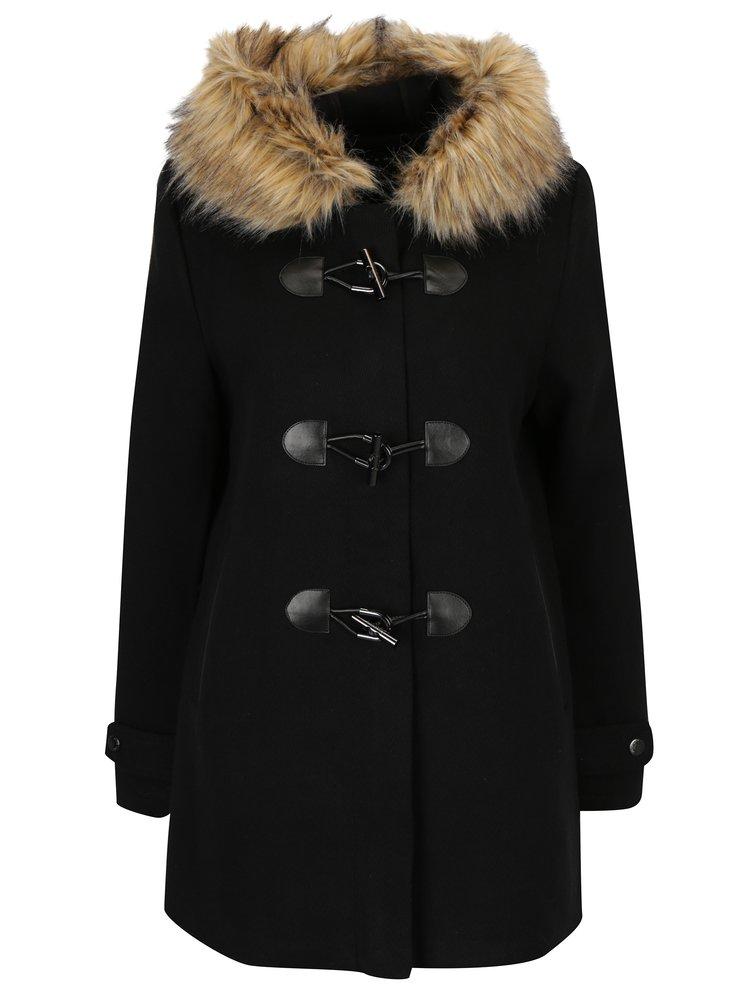 Černý dámský vlněný kabát s kapucí Superdry Brooklyn
