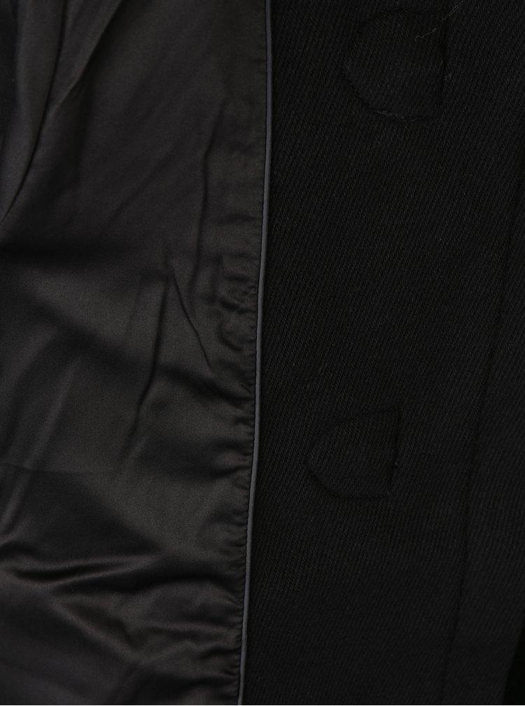 Palton negru din amestec de lana cu gluga si blana artificiala pentru femei - Superdry Brooklyn
