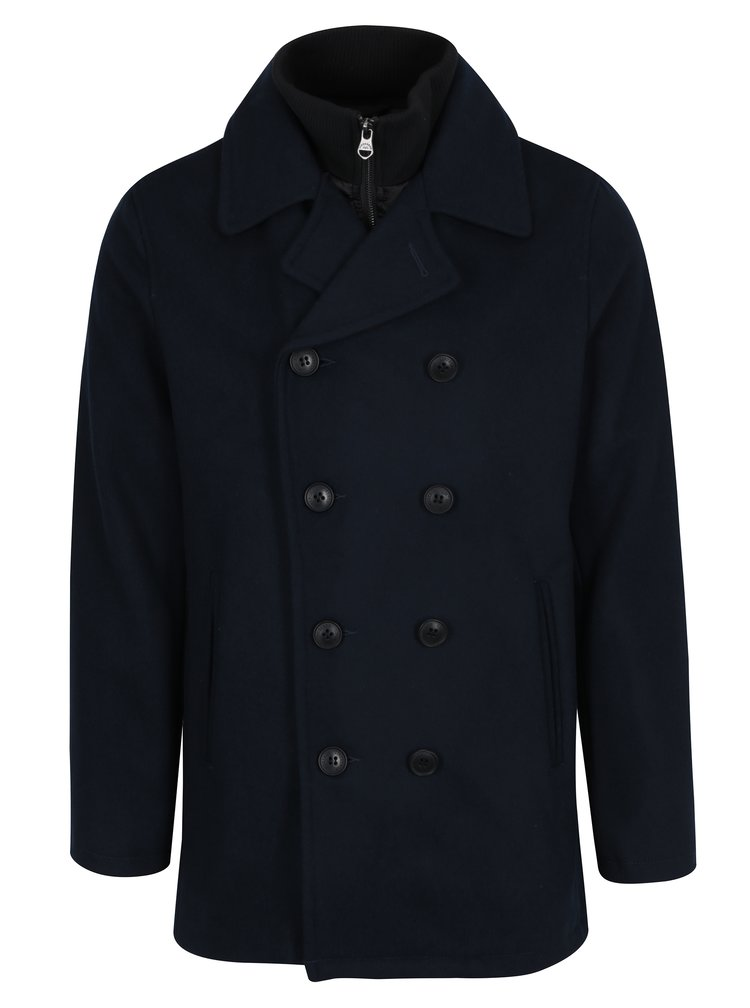 Tmavě modrý vlněný kabát Lindbergh