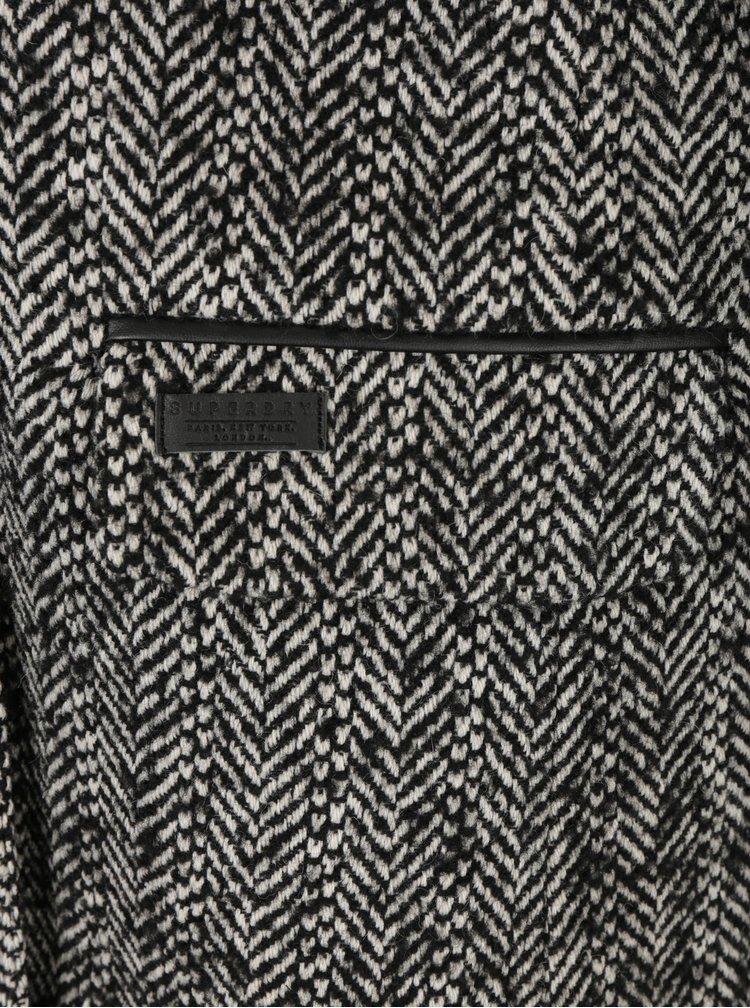 Krémovo-černý dámský vlněný vzorovaný kabát Superdry Classic