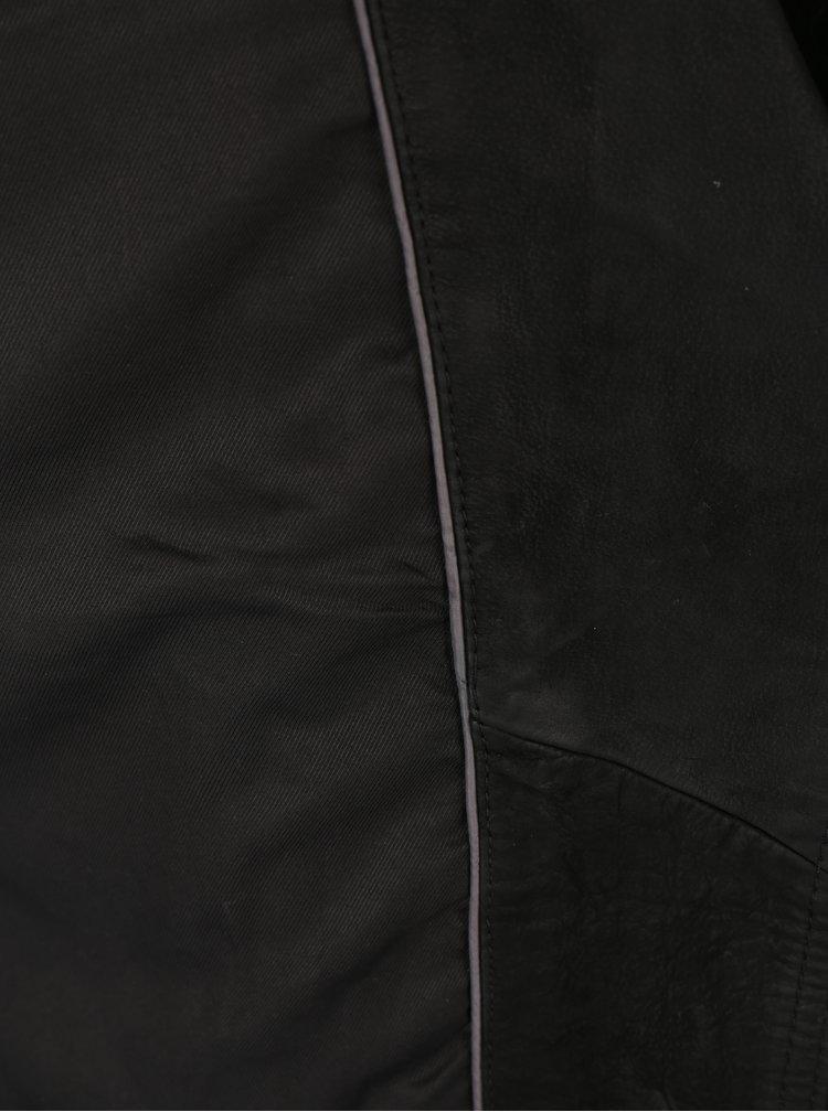 Černý dámský kožený křivák Superdry Mhairi