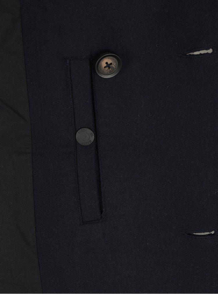 Tmavě modrý pánský vlněný kabát Garcia Jeans
