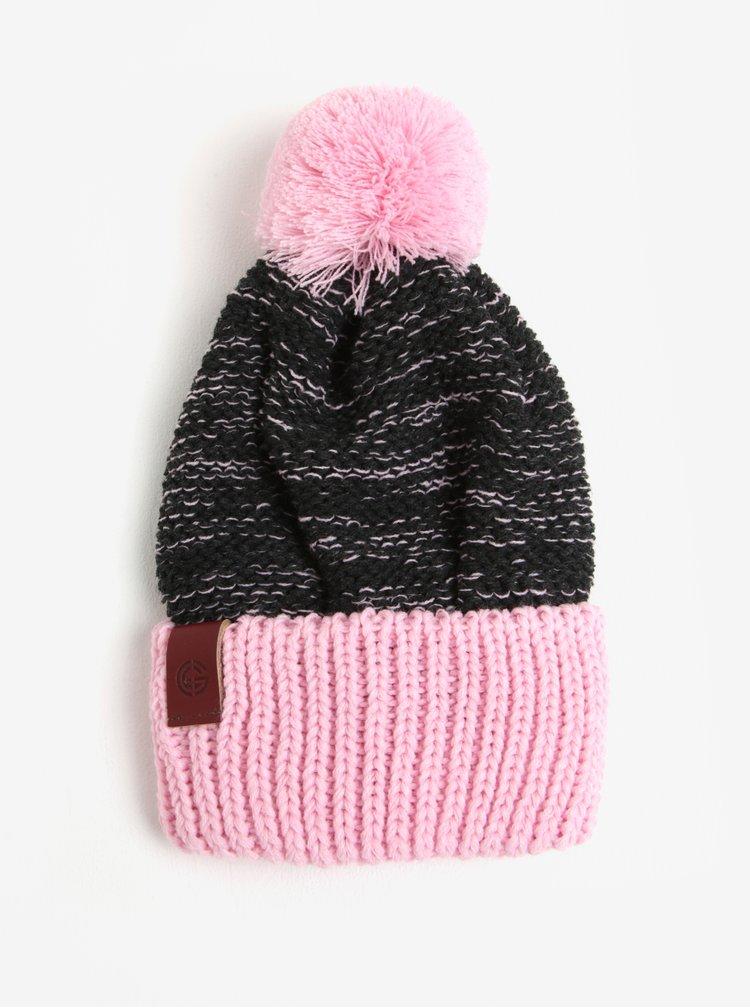Caciula tricotata cu pompon roz & gri pentru femei - Nugget Medea